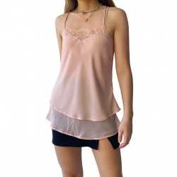Women Two Tier Cami with Lace Insert Thin Fabric Cami Top for Women with Lace
