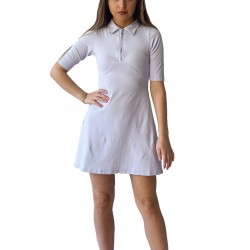 Customized O-Neck Mid Length Sleeve Front Zip Up Mini Dress for Women TLS206