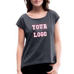 High Quality Custom Short Sleeve Women's Rolled Sleeve T-Shirt TLS207