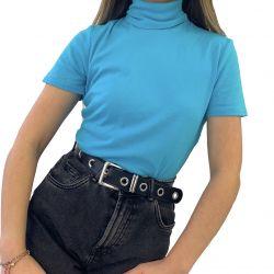 High Quality Turtle Neck Short Sleeve Long T-Shirt for Women TLS210