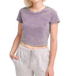 Custom Tie Dye Crop Top Short Sleeve T-Shirt Denim Wash Ladies Sexy Crop top TLS213