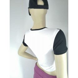 Womens Brand Printed Two Color Cropped Top T-Shirt TLS89