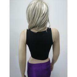 Girl's Split Sleeveless Belted Black Tank Top Shirts TLS44