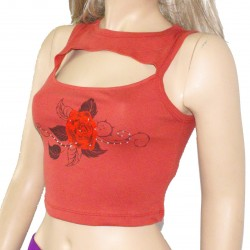 Rose Printed Rhinestone Crop Top Shirt TLS91