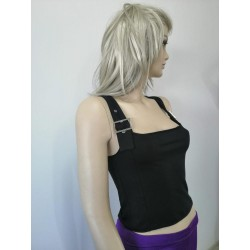 Women's Black Buckled Belted Tanktops - Camisole TLS92