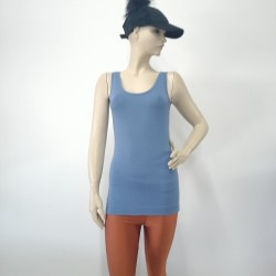 Girl's Sleeveless Blue Ribbed Cotton Camisole Tanks Tops TLS96
