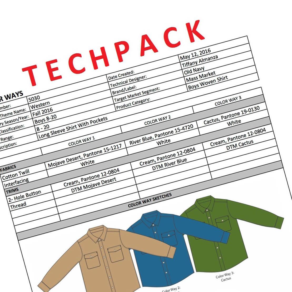 tech pack - data sheet